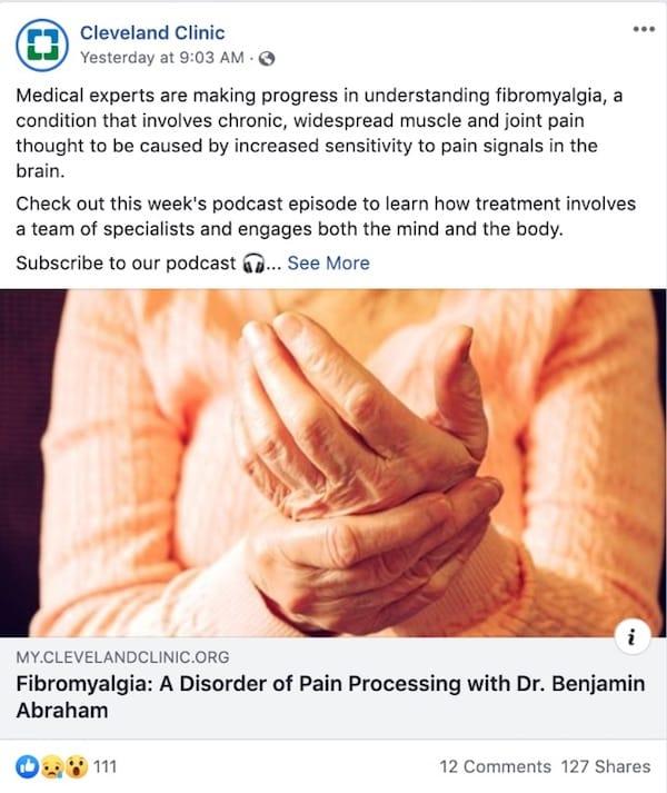 Cleveland Clinic offre una sana dose di contenuti multimediali nelle proprie campagne su Facebook
