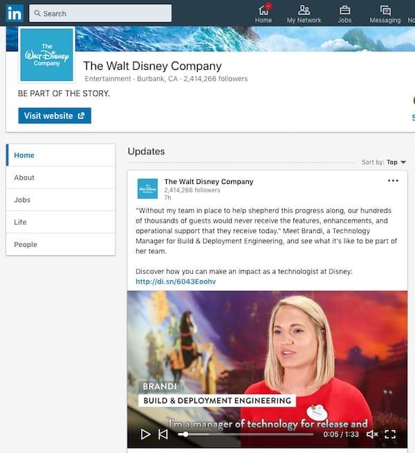 Disney mette in evidenza come i dipendenti portano la magia in questa campagna sul social media di LinkedIn