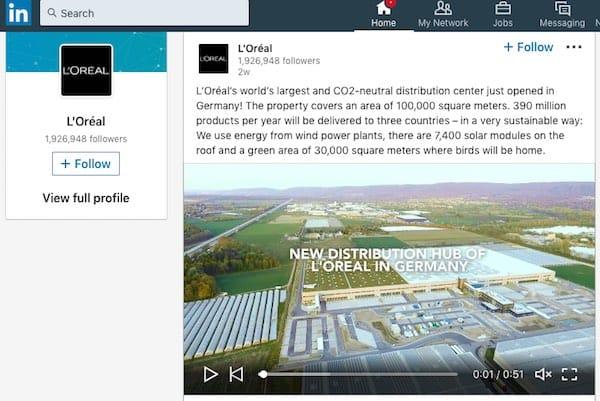 L'Oreal utilizza le campagne sul social media di LinkedIn per fornire uno sguardo al dietro le quinte