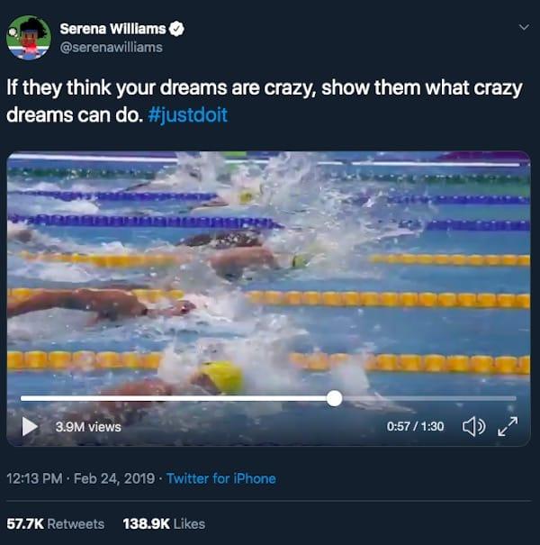 Immagine di Nike e Serena Williams che si collaborano per ricordarci che è una follia solo finché non lo fai